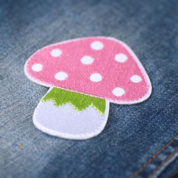 Bügel-Applikation Pilz, groß, rosa, ca.8cm